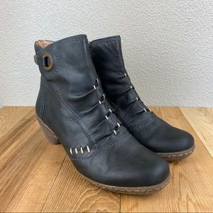 Pikolinos black leather side zip booties euro 38